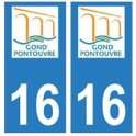 16 Gond-Pontouvre ville autocollant plaque