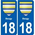 18 Baugy coat of arms sticker plate, city sticker