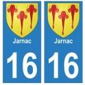 16 Jarnac ville autocollant plaque