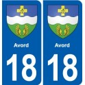 18 Avord coat of arms sticker plate, city sticker