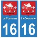 16 La Couronne ville autocollant plaque