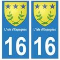 16 L'Isle-d'Espagnac ville autocollant plaque