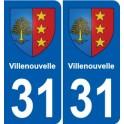 31 Villenouvelle coat of arms, city sticker, plate sticker