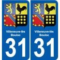 31 Villeneuve-lès-Bouloc coat of arms, city sticker, plate sticker