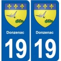 19 Donzenac coat of arms, city sticker, plate sticker