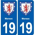 19 Mansac blason ville autocollant plaque sticker