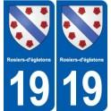19 Rosiers-d-égletons coat of arms, city sticker, plate sticker