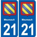 21 Meursault coat of arms sticker plate stickers city