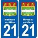 21 Mirebeau-sur-Bèze coat of arms sticker plate stickers city
