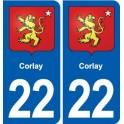 22 Corlay blason ville autocollant plaque sticker