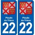 22 Plouëc-du-Trieux blason ville autocollant plaque sticker