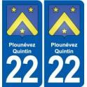 22 Plounévez-Quintin coat of arms, city sticker, plate sticker