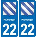22 Plumaugat blason ville autocollant plaque sticker