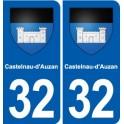 32 Castelnau-d'Auzan blason ville autocollant plaque stickers