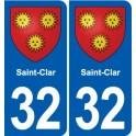 32 Saint-Clar coat of arms, city sticker, plate sticker