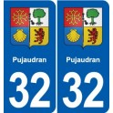 32 Pujaudran coat of arms, city sticker, plate sticker