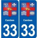 33 Cambes coat of arms, city sticker, plate sticker