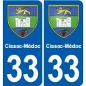 33 Cissac-Médoc coat of arms, city sticker, plate sticker