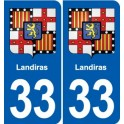 33 Landiras coat of arms, city sticker, plate sticker
