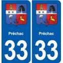 33 Blanquefort blason ville autocollant plaque stickers