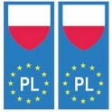 Pologne europe drapeau Autocollant