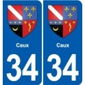 34 Caux coat of arms, city sticker, plate sticker