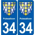 34 Puissalicon coat of arms, city sticker, plate sticker