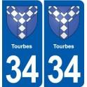 34 Florensac blason ville autocollant plaque stickers