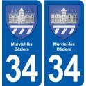 34 Murviel-lès-Béziers blason ville autocollant plaque stickers