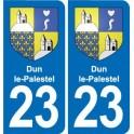 23 Dun-le-Palestel blason ville autocollant plaque sticker
