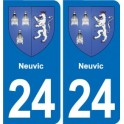 24 Neuvic coat of arms sticker plate sticker department