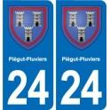 24 Piégut-Pluviers blason autocollant plaque stickers département