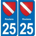 25 Roulans blason autocollant plaque stickers