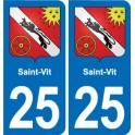 25 Saint-Vit coat of arms sticker plate stickers