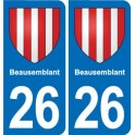 26 Beausemblant coat of arms sticker plate stickers city