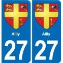 27 Ailly blason autocollant plaque stickers ville