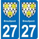 27 Breuilpont coat of arms sticker plate stickers city