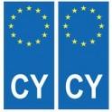 Chypre europe autocollant plaque