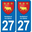 27 Quillebeuf-sur-Seine, france coat of arms decal plate sticker city