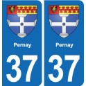 37 Pernay coat of arms, city sticker, plate sticker