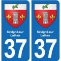 37 Savigné-sur-Lathan coat of arms, city sticker, plate sticker