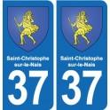 37 Saint-Christophe-sur-le-Nais coat of arms, city sticker, plate sticker