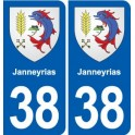 38 Janneyrias coat of arms, city sticker, plate sticker