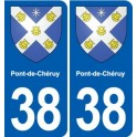 38 Pont-de-Chéruy coat of arms, city sticker, plate sticker