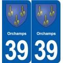 39 Orchamps autocollant plaque blason stickers département