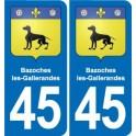 45 Bazoches-les-Gallerandes coat of arms, city sticker, plate sticker