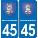 45 Neuville-aux-Bois blason ville autocollant plaque stickers