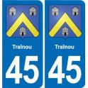 45 Traînou coat of arms, city sticker, plate sticker