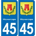 45 Vitry-aux-Loges coat of arms, city sticker, plate sticker