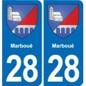 28 Marboué blason autocollant plaque stickers ville